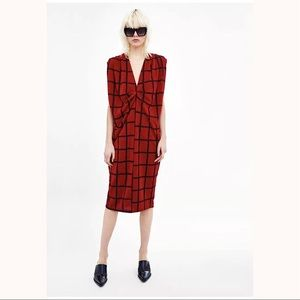 ZARA Check Dress With Pleated Shoulders, Red/Black